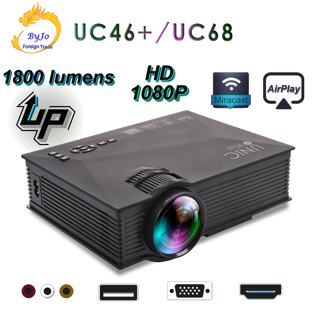 Original UNIC Neue Upgrade UC68 Volle HD1800 lumen led projektor Heimkino Multimedia Unterstützung Miracast Airplay USB HDMI VGA