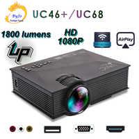 Original el centro de la nueva actualización de UC68 La HD1800 lúmenes proyector led casa teatro de soporte Multimedia Miracast Airplay HDMI USB VGA