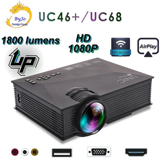 מקורי UNIC החדש שדרוג UC68 מלא HD1800 lumens led מקרן בית תיאטרון מולטימדיה תמיכה Miracast Airplay USB HDMI VGA
