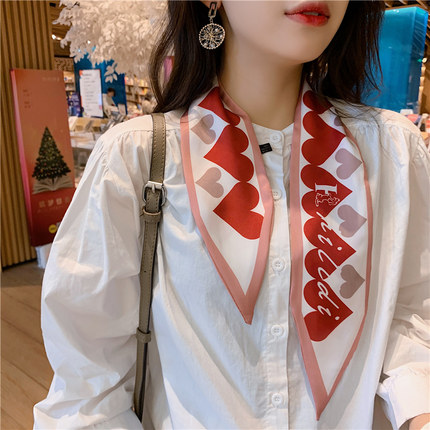 2020 New Ins Ribbon Soft Love Scarves Korean Female Wild Reed Multi-functional Small Decorative Women Skinny Scarf