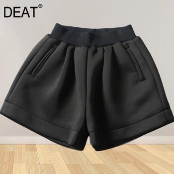 DEAT Short Pants Womens Black Casual Wild Loose Elastic Waist 2021 New Summer Fashion Tide XQ511 1