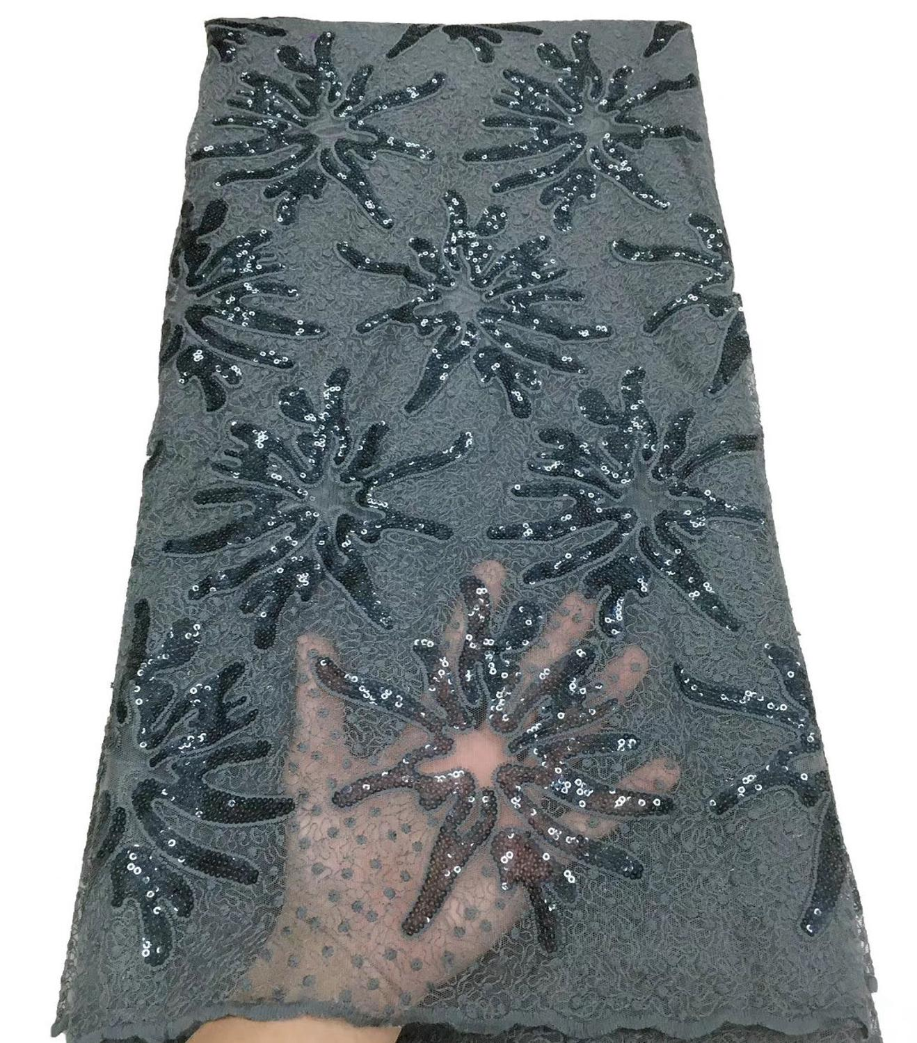 Gorgeous Nigerian Tulle French Net Lace Embroidered African Cord Lace Fabric With Sequins For Bridal TS9099