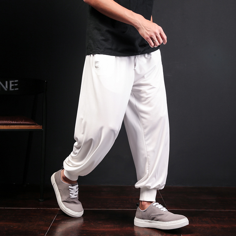 2019 Loose Harm Pants Chinese Clothing Ankle-tied Baggy Trousers Men Solid Thin Joggers Sweatpants Casual Male Pants
