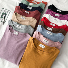 HELIAR Women Plain Cottons T-shirt 2020 Summer Casual O-Neck Cotton Tees