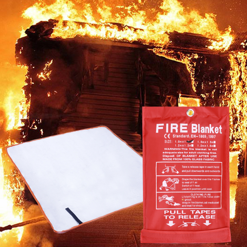 1m/1.5m Fire Shelter Safety Cover Blanket Sealed Necessary Fire Emergency Blanket Flame-Retardant Saftety Camping Rescue Tool