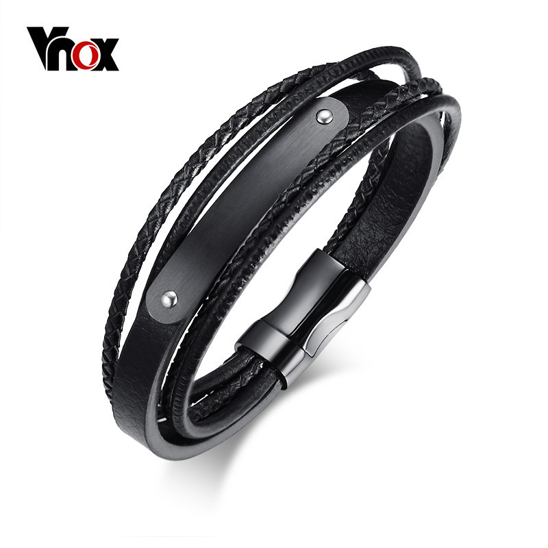 4mm Mens Genuine Leather Braided Bracelet Stainless Steel Clasp In ZY