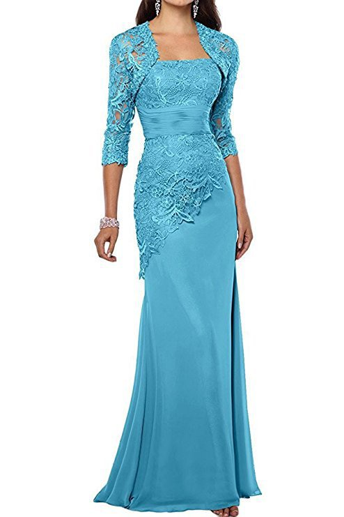Satin Lace Mother Of The Bride Dresses With Jacket Appliques Three Quarter Long Sleeves Mermaid Mother's Evening Gowns 2020