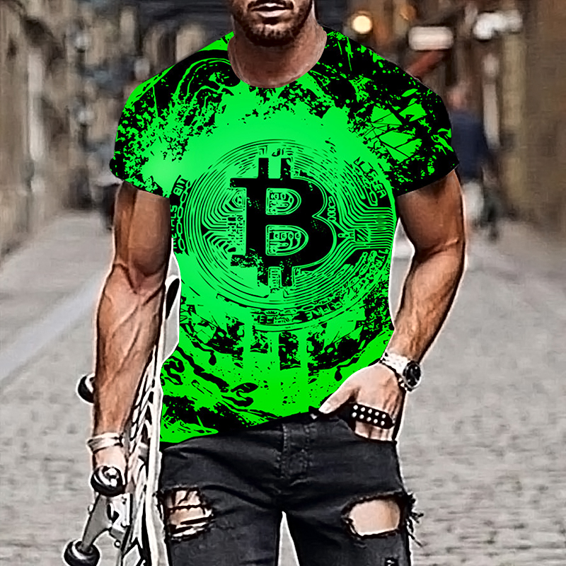 2021 Harajuku Men T-shirt Bitcoin Pattern Style 3D Printing Hip-hop Cool Handsome Plus Size Adult Clothes 1