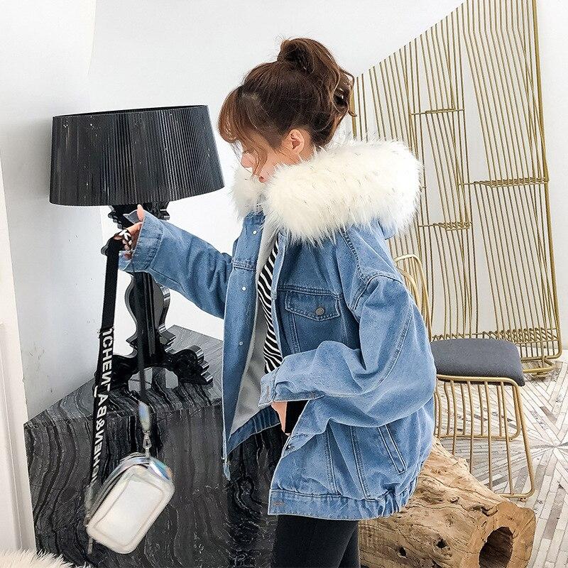 H63dbc4b13a25473fb60a64f4e46c7d333 LUZUZI 2019 New Warm Winter Bomber Women Winter Autumn Hooded Girls Coat Jeans Denim Jackets Basic Ladies Top Windbreaker Female