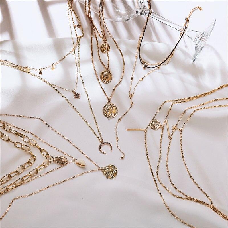 2020 New Vintage Bohemia Star Moon Necklace Fashion Sun Apollo Helios Statue Choker Pendant Necklace Women Statement Jewelry