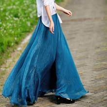 High Waist Women Chiffon Skirt Bohemian Korean Fashion Maxi Womens A Line Long Ruffles Saia Longa Faldas