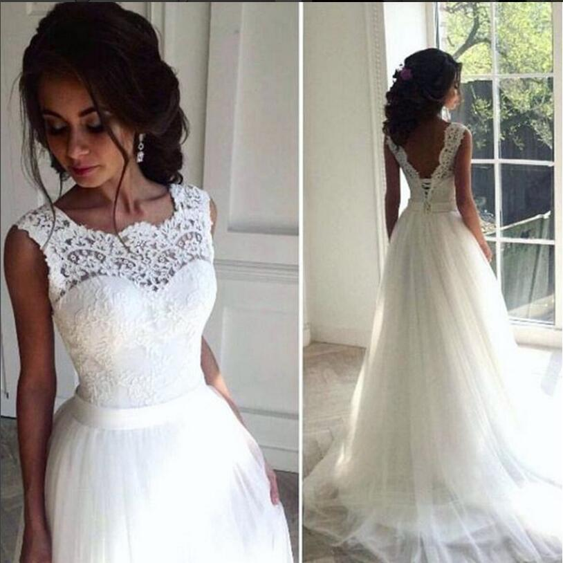Lace Cheap Robe De Mariee  2019 Beach Wedding Dresses Vestido De Noiva A-line Tulle Bridal Gown Vintage Chic Long Wedding Dress