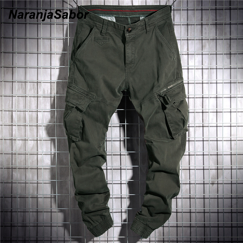 NaranjaSabor Mens Tooling Style Pants 2020 Spring High Quality Washed Cotton Multi Pockets Trousers Male Brand Clothing N645