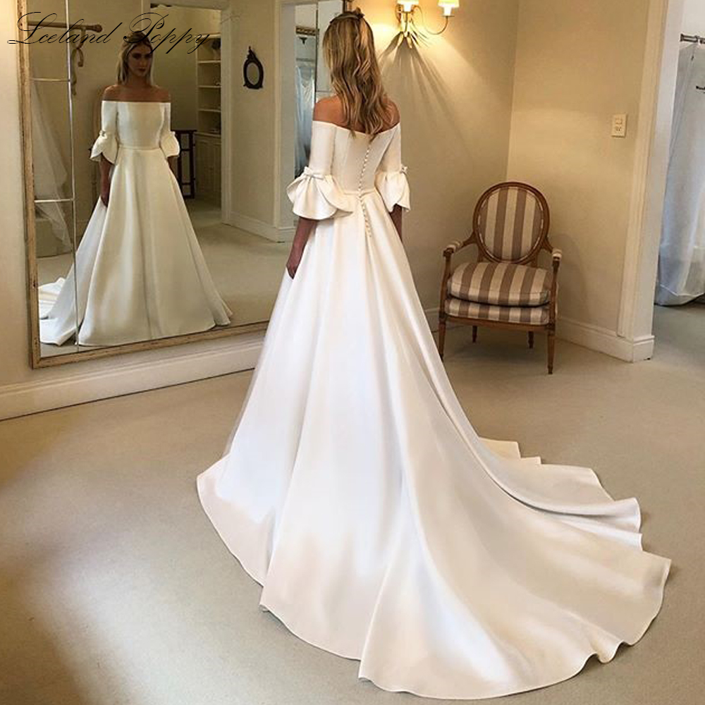 Lceland Poppy A Line Satin Wedding Dresses 2020 Boat Neck Half Sleeves Vestido De Novia With Pockets Bridal Gowns Court Train,Stores To Buy Dresses For A Wedding