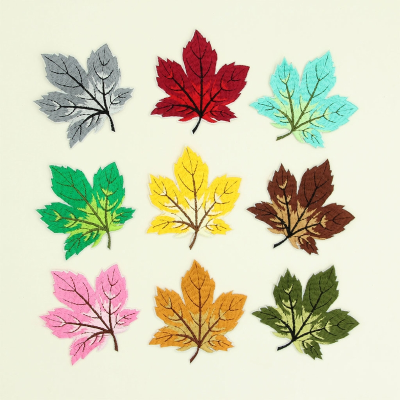 9 Piece Multicolor Maple Leaf Sew/Iron On Appliques Embroidery Patches for Clothing Art Crafts DIY Badge Stickers Decor