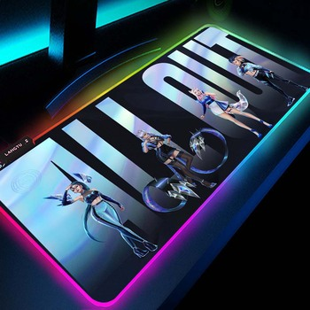 Pc Kawaii Girl Gamer Gaming Decoration KDA League of Legends Seraphine Akali Kayn Lol Ashe Rgb Mouse Pad Led Gamers Accessories 2