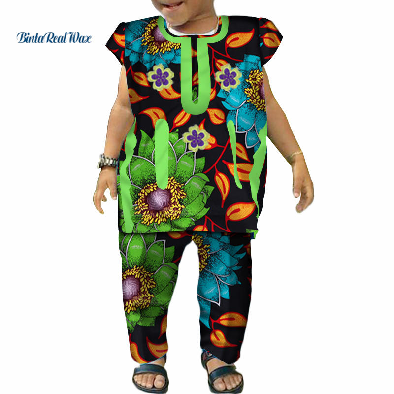 Unsexy Boys Girls Tops And Pants Sets Bazin Riche 100% Cotton African Print Ankara Shirt And Pants Sets African Clothes WYT223