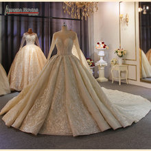 Elegant full beading body long sleeves lace wedding dress lighter champagne color can make ivory