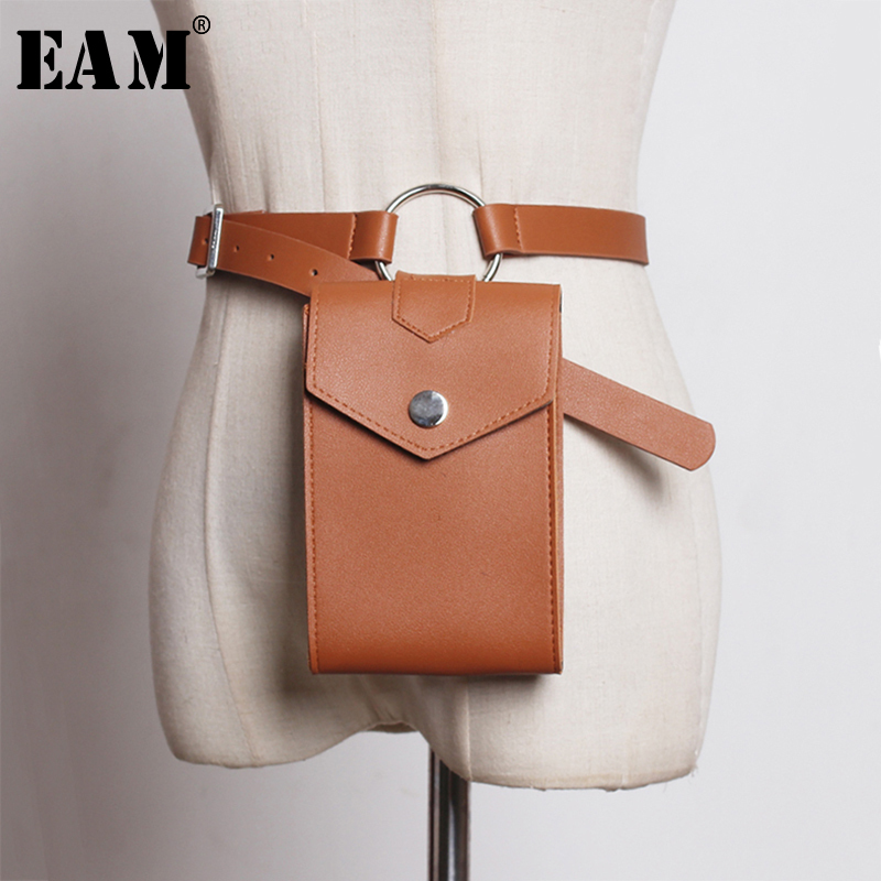 [EAM]  Pu Leather Metal Circle Mini-bag Small Buckle Belt Personality Women New Fashion All-match Spring Autumn 2020 1A05700