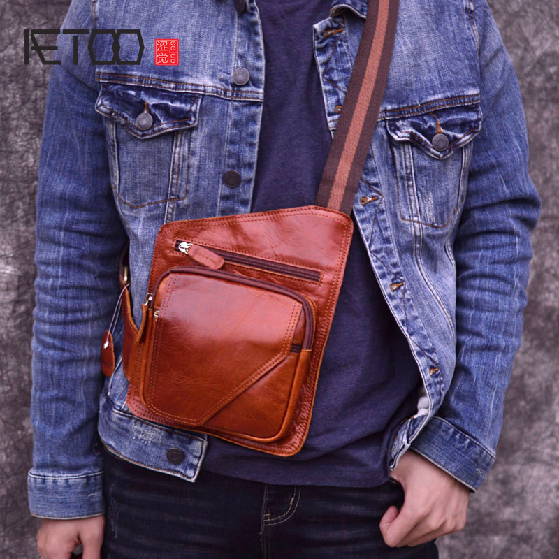 AETOO Messenger Bag Men Leather Shoulder Bags Small Handbags Male Crossbody Genuine Fashion Man Flap