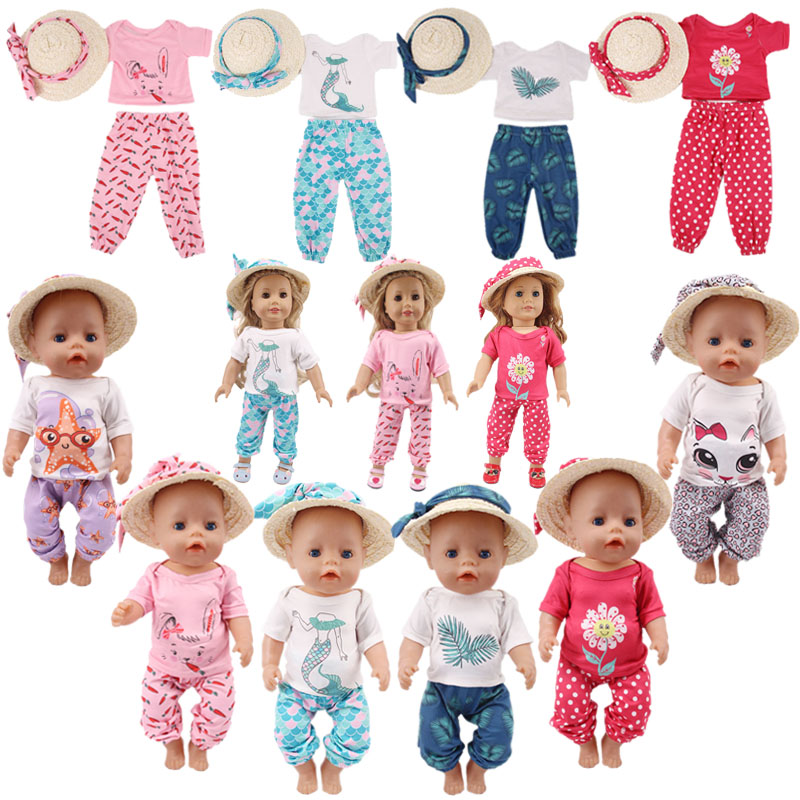 Doll Clothes Cute Animals Patterns 4 Pcs=Silk Scarf+Straw Hat+T-shirt+Leisure Trousers For 18 Inch American&43 Cm Born Doll Girl