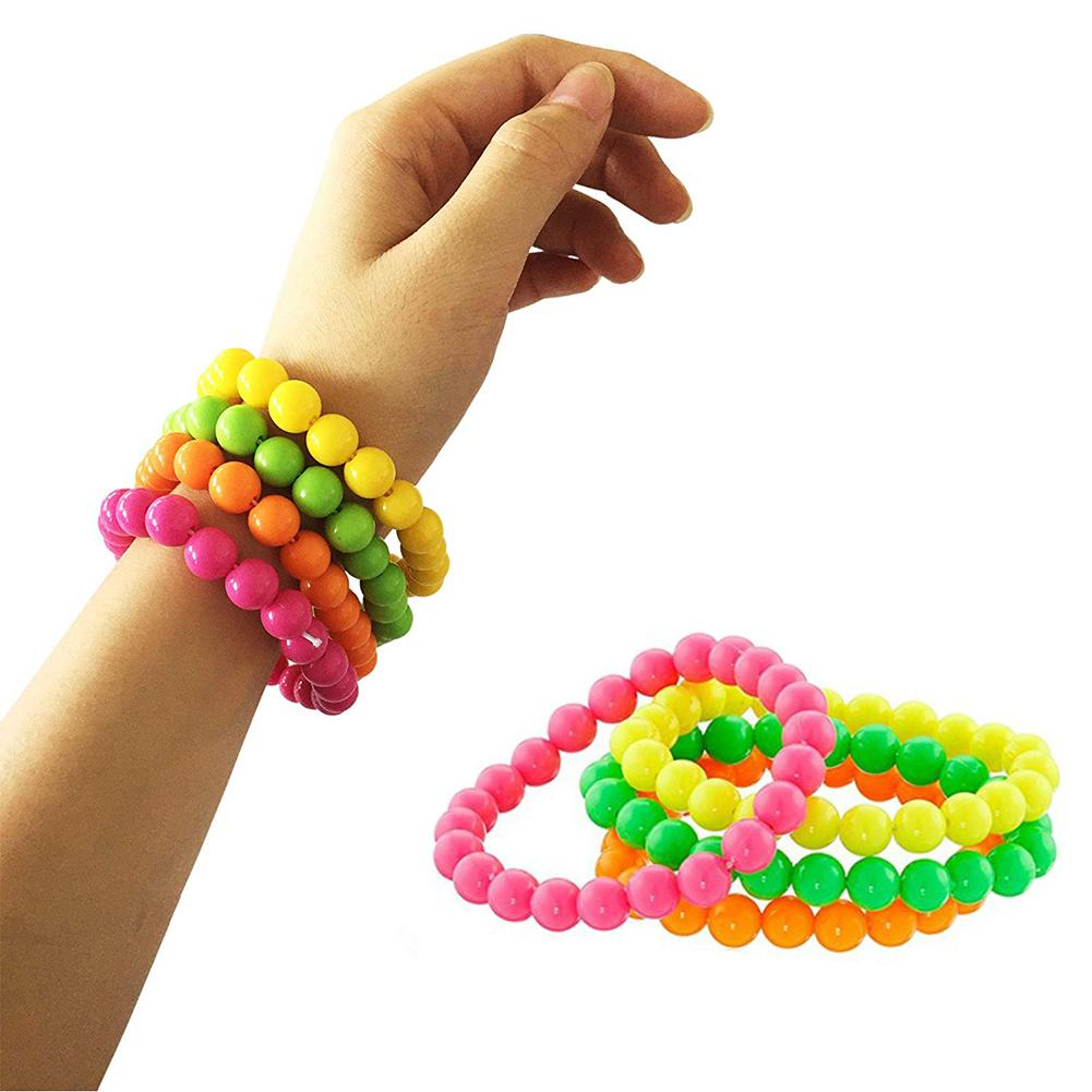4Pcs Neon Color Bead Strand Necklaces Bracelets Jewelry Party Dress Accessories Necklace And Bracelet Cosplay Accessories Party