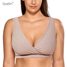 Gratlin Women's Soft Cotton Plus Size Nursing Sleep Bra for Breastfeeding