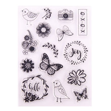 DIY Butterfly Bird Flower Wreath Design Transparent Clear Rubber Stamp Seal Paper Craft Scrapbooking Decoration