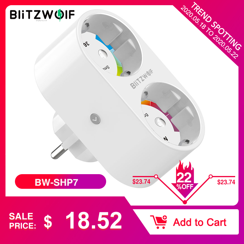 BlitzWolf BW SHP7 3680W 16A Dual Outlet EU Plug Smart WIFI Socket APP Remote Control Work With Google Assistant / Amazon AlexaSmart Power Socket Plug   -