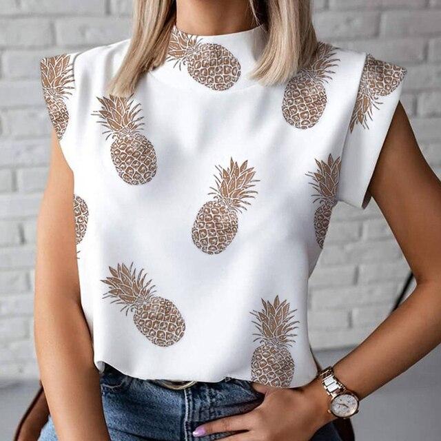 Blouse Shirts Tops Pullovers Eye Short Sleeve Lips-Print Blusa Women Elegant Summer Causal Stand Neck Ladies Fashion Chemise 6