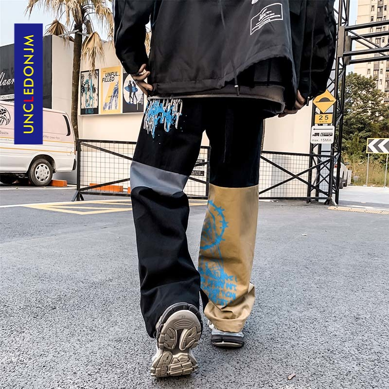 UNCLEDONJM Colour Block Cargo Pants Men Streetwear Hip hop Loose fit Trousers Casual Pants Harajuku Man Fashion 2002