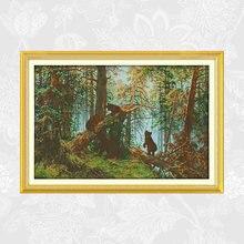 Набор для вышивания крестиком «сосновый лес» крестом с принтом
