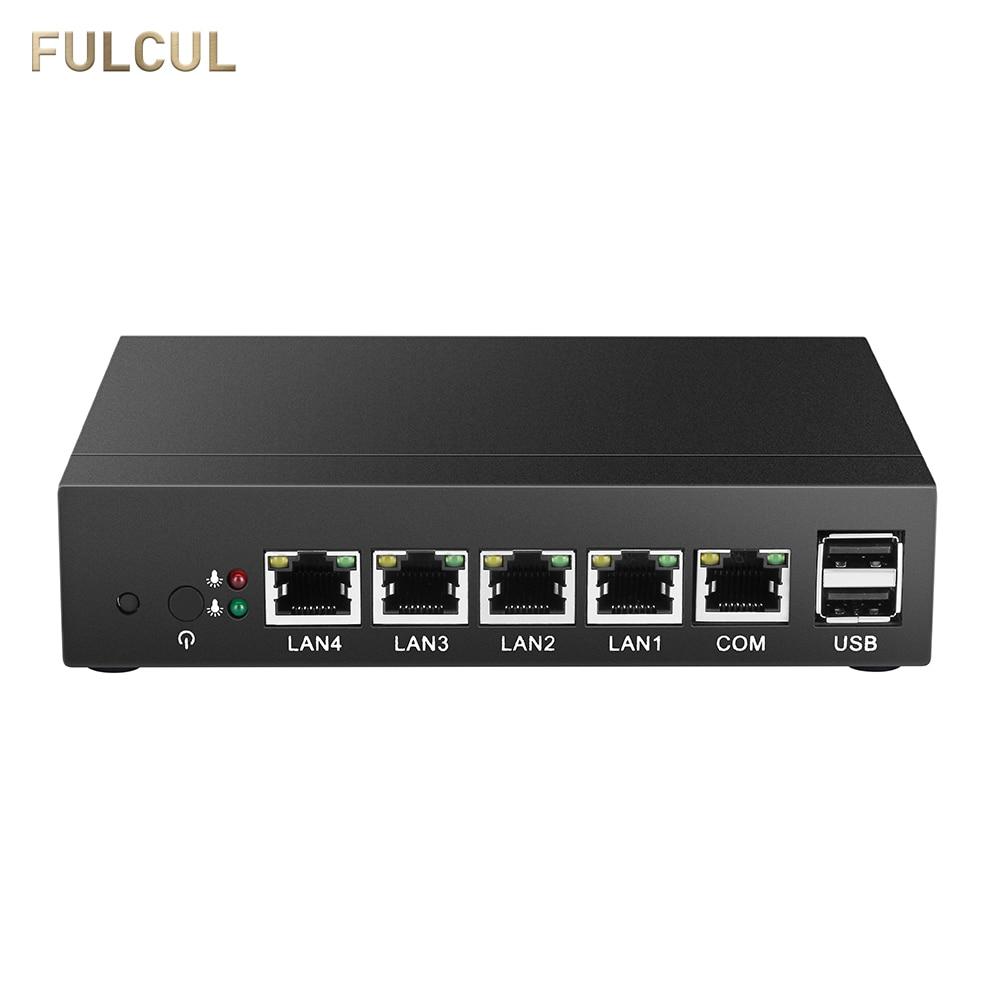 Mini PC Fanless PFsense Firewall Router Celeron J1900 Quad Core Windows 10 4 Gigabit LAN COM RJ45 VGA Industrial Computer