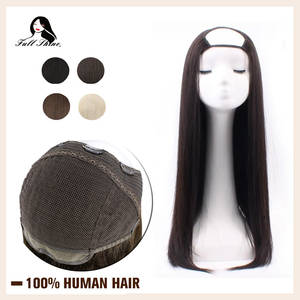 Wig Hair-Extensions Half-Wig U-Part Human-Hair Clip-In Straight Full-Shine One-Piece