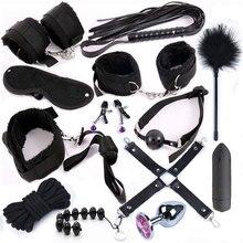 Stimulez les contraintes de Bondage BDSM menottes sexuelles fouet bouchon Anal en métal avec vibrateur jouets érotiques pour Couples adultes