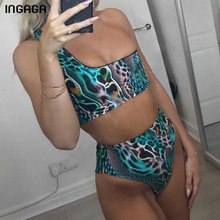 INGAGA One Shoulder Bikini 2019 High Waist Swimwear Women Leopard Print Female Swimsuit New Sexy Bathing Suit Biquini
