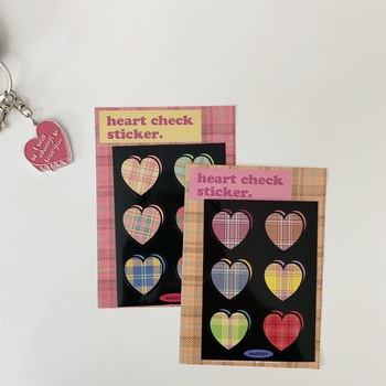 Ins 2pc Heart Shaped Plaid Colorful Seal Sticker Waterproof Note Post It Diy Notebook Mobile Phone Decorative Sticker Stationery