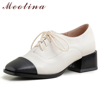 Meotina High Heels Women Shoes Natural Genuine Leather Block High Heels Shoes Cow Leather Mixed Colors Square Toe Shoes Lady 40