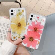 Wyczyść prawdziwe wciśnięty suszone kwiaty etui na telefony dla iPhone 11 Pro Max 12 Mini XS Max XR X 7 8 Plus SE 2020 śliczny kwiat silikonowa okładka
