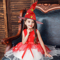 Toddler Kid Baby Girl Halloween Clothes Party Star Lace Dress Witch Hat Outfits for Little Girl