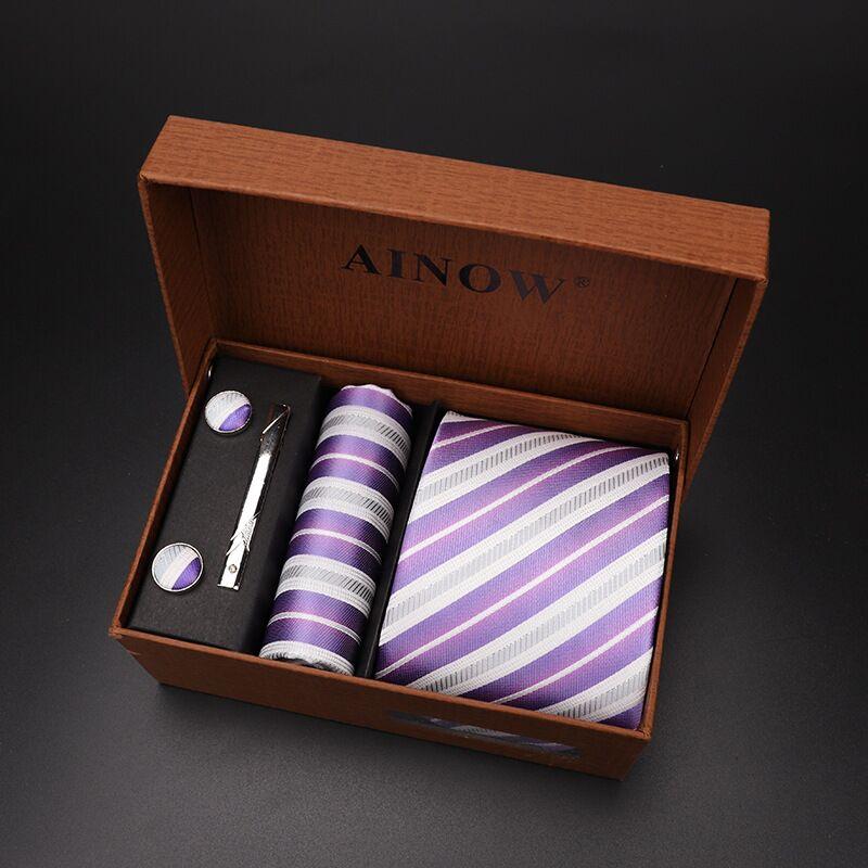 Набор галстуков 4 шт. мужской цветочный галстук для шеи клетчатый галстук подарок свадебный красный полосатый 8 см темно-синий жаккардовый тканый черный однотонный Камуфляжный ящик - Цвет: NO box 18