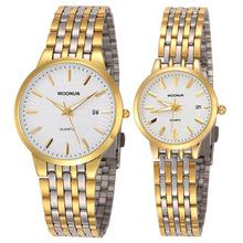Luksusowe marki zegarki kobiety mężczyźni złote zegarki ze stali nierdzewnej zegarki kwarcowe miłośnicy mody zegarki reloj hombre reloj mujer tanie tanio WOONUN Luxury ru QUARTZ STAINLESS STEEL 3Bar CN (pochodzenie) Bransoletka zapięcie 9mmmm Hardlex 8036 24cminch Nie pakiet