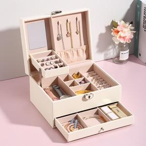 Image 2 - Grande boîte à bijoux en cuir PU multicouche, casier organisateur pour colliers, bagues, boucles doreilles, boîtes de rangement pour bijoux, 2020