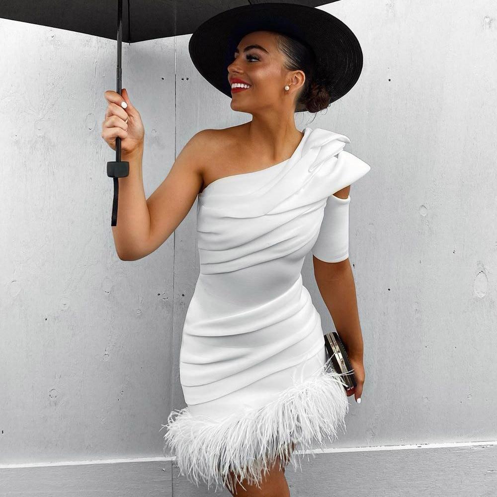 Ocstrade 2020 Sexy One Shoulder Bandage Dress Elegant Women Feather White Bandages Dress Bodycon Celebrity Evening Party Dress