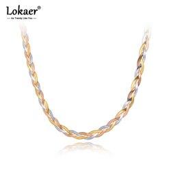 Lokaer titane acier inoxydable trois couleur or colliers bijoux mode bohême armure serpent chaîne collier pour les femmes N20284