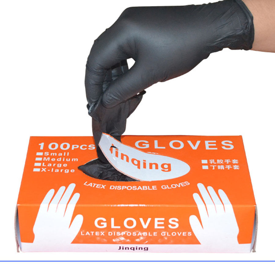 100PCS/SET Household Cleaning Washing Disposable Gloves Mechanic Black Nitrile Laboratory Nail Art Anti-Static Gloves