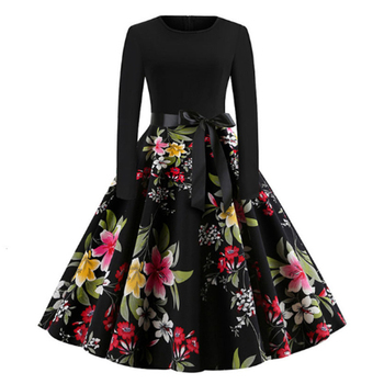 RICORIT Women Christmas Dress Swing Elegant Women Print Dress Party Dresses Long Sleeve Dress Vintage Women Dress Robe Plus Size 2