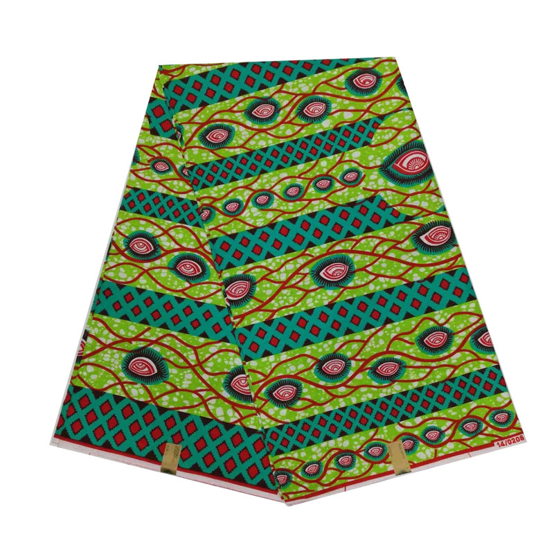 100 cotton 6yards piece african wax dutch block printed in fabric green soft breathable women dress cloth V L 647 in Fabric from Home Garden