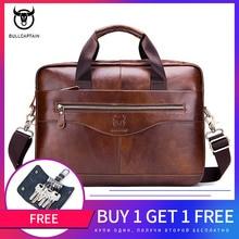 BULLCAPTAIN new fashion cowhide mens business briefcase / leather retro mens crossbody bag / casual business bag / handb