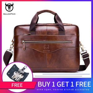 Image 1 - BULLCAPTAIN new fashion cowhide mens business briefcase / leather retro mens crossbody bag / casual business bag / handb